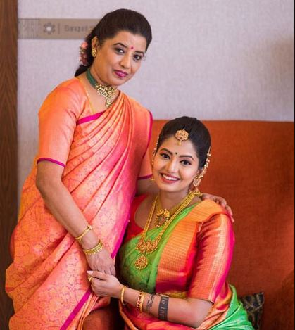 Disha with her mother
